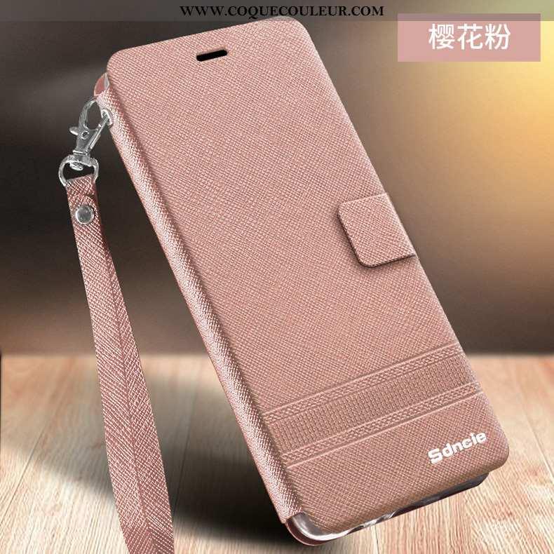 Housse Xiaomi Redmi 6a Fluide Doux Cuir Étui, Étui Xiaomi Redmi 6a Protection Rouge Rose