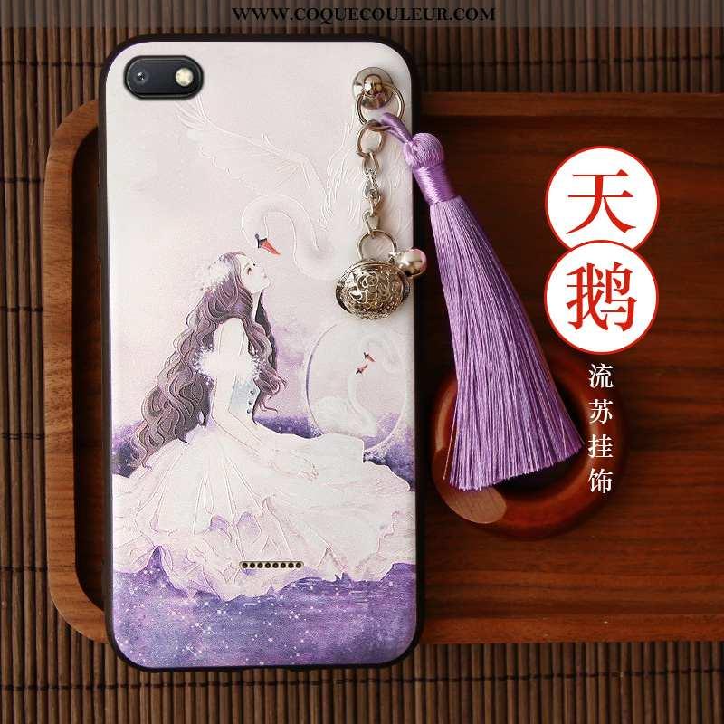 Étui Xiaomi Redmi 6a Silicone Incassable, Coque Xiaomi Redmi 6a Protection Style Chinois Violet