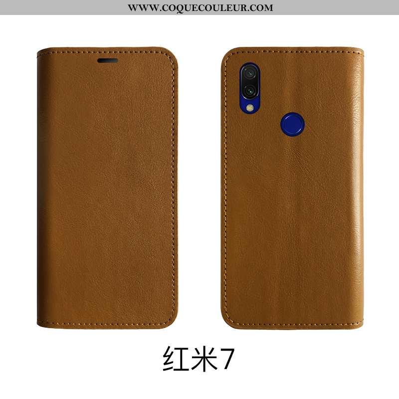 Housse Xiaomi Redmi 7 Protection Rouge Tout Compris, Étui Xiaomi Redmi 7 Cuir Véritable Marron