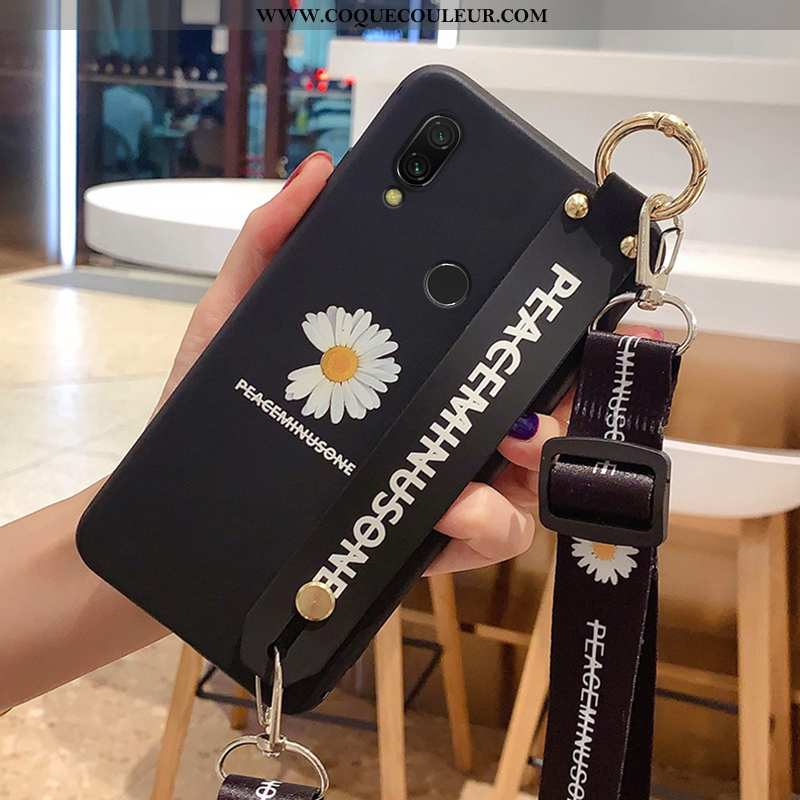 Housse Xiaomi Redmi 7 Protection Étui Cou Suspendu, Xiaomi Redmi 7 Délavé En Daim Tout Compris Noir