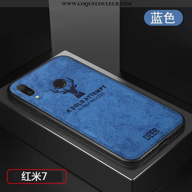 Coque Xiaomi Redmi 7 Fluide Doux Protection Tempérer, Housse Xiaomi Redmi 7 Silicone Créatif Bleu