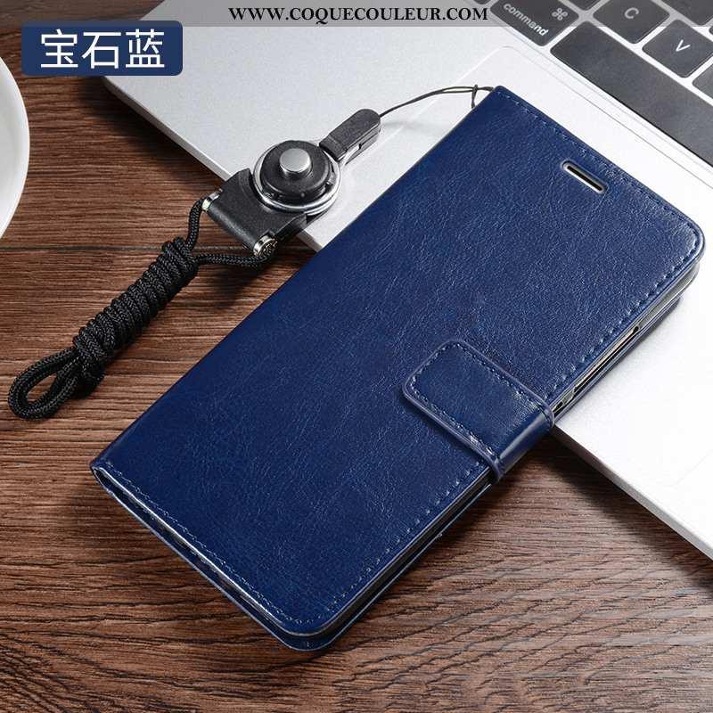 Coque Xiaomi Redmi 7 Protection Étui Tout Compris, Housse Xiaomi Redmi 7 Cuir Bleu Foncé