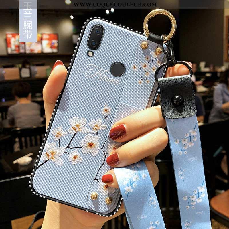 Étui Xiaomi Redmi 7 Fluide Doux Ornements Suspendus Bleu, Coque Xiaomi Redmi 7 Silicone Incassable B