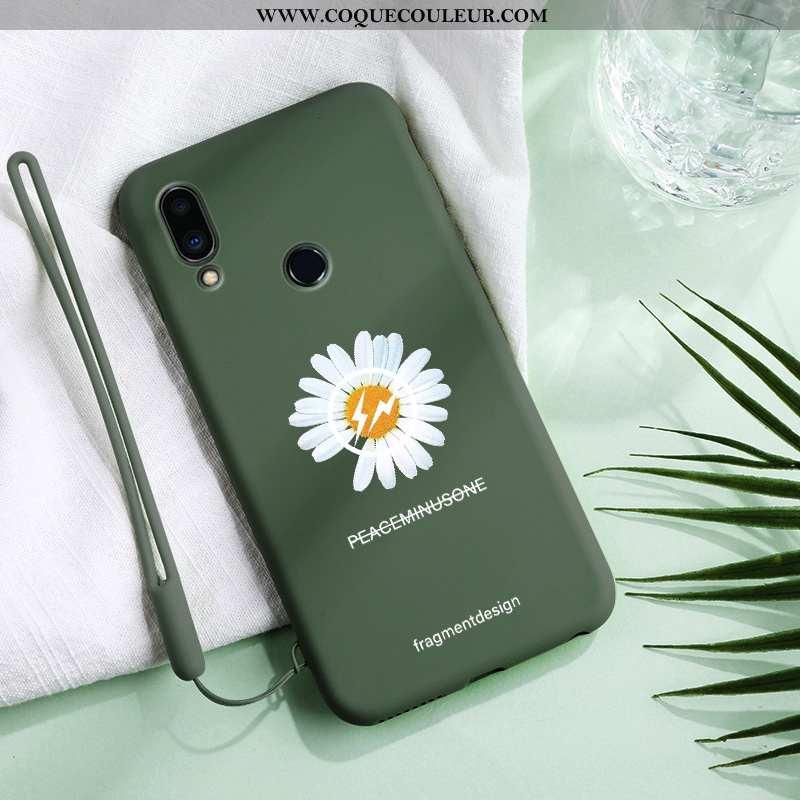 Étui Xiaomi Redmi 7 Légère Vert Protection, Coque Xiaomi Redmi 7 Fluide Doux Petite Marguerite Verte