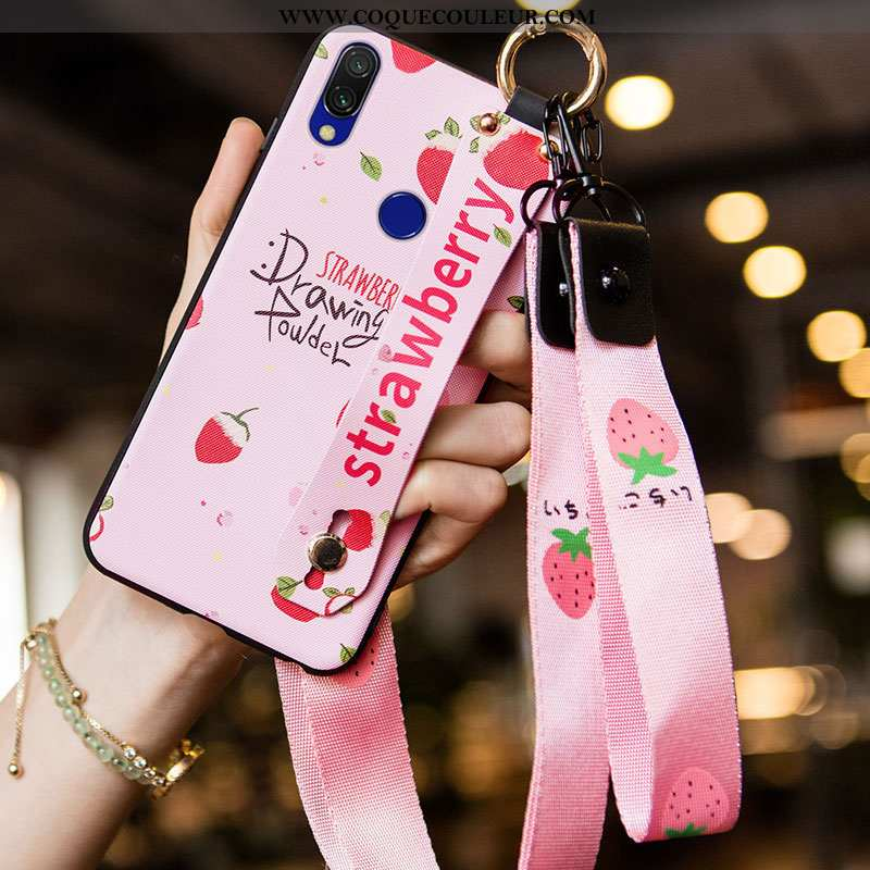 Étui Xiaomi Redmi 7 Tendance Téléphone Portable Simple, Coque Xiaomi Redmi 7 Fluide Doux Rose