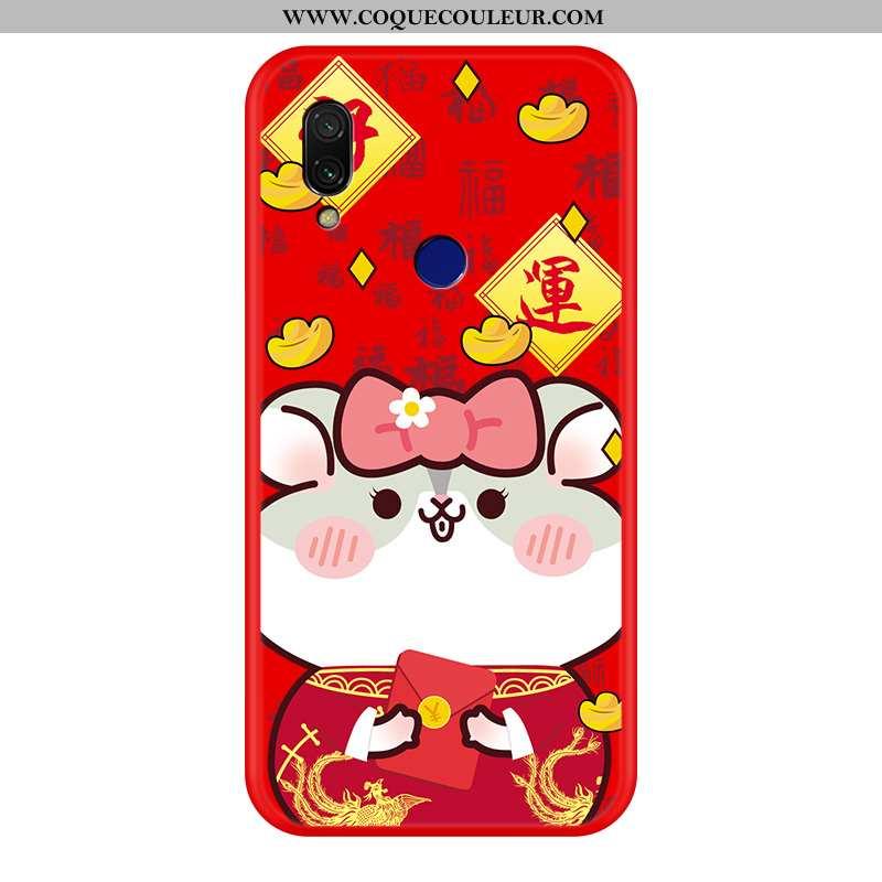 Housse Xiaomi Redmi 7 Silicone Rat Coque, Étui Xiaomi Redmi 7 Protection Dessin Animé Rouge