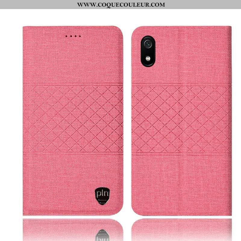 Housse Xiaomi Redmi 7a Cuir Tout Compris Téléphone Portable, Étui Xiaomi Redmi 7a Protection Rose