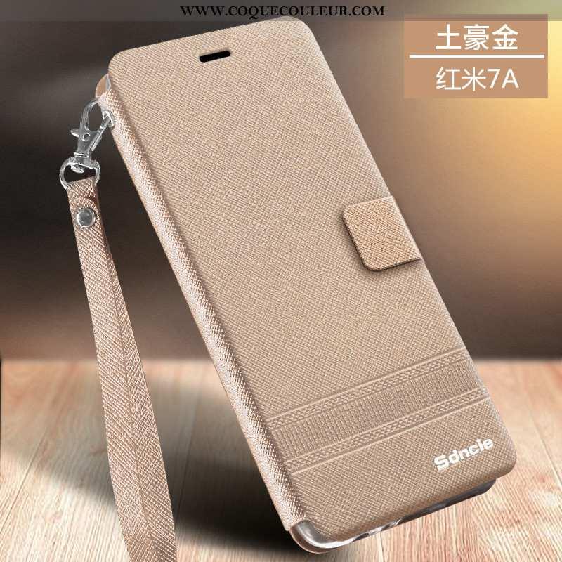 Housse Xiaomi Redmi 7a Cuir Téléphone Portable Or, Étui Xiaomi Redmi 7a Fluide Doux Protection Doré