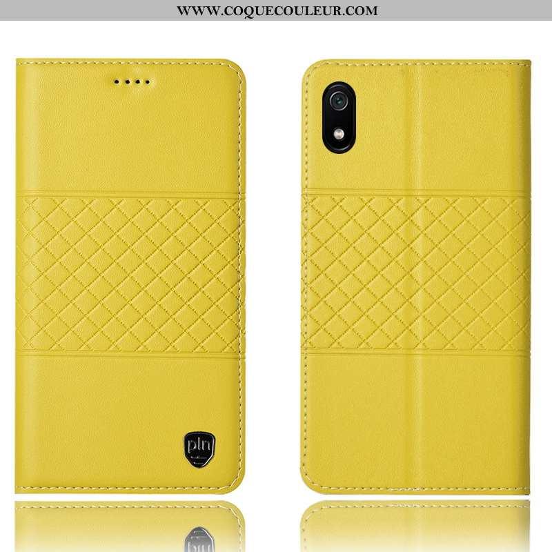 Étui Xiaomi Redmi 7a Cuir Véritable Housse Incassable, Coque Xiaomi Redmi 7a Protection Jaune