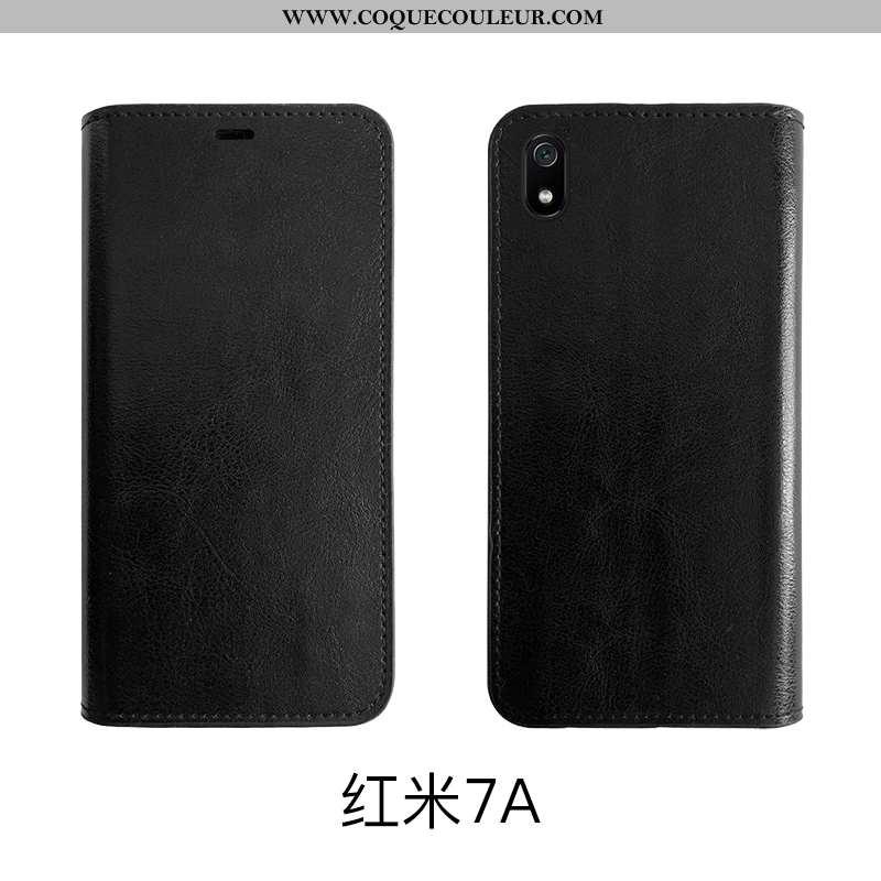Housse Xiaomi Redmi 7a Vintage Noir Coque, Étui Xiaomi Redmi 7a Fluide Doux