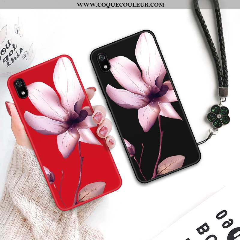 Coque Xiaomi Redmi 7a Personnalité Tendance Fleur, Housse Xiaomi Redmi 7a Créatif Tout Compris Rouge