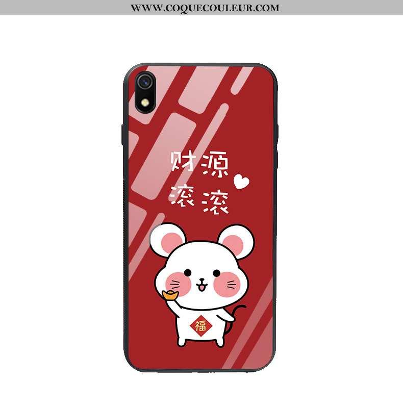 Coque Xiaomi Redmi 7a Verre Rat Étui, Housse Xiaomi Redmi 7a Charmant Téléphone Portable Rouge