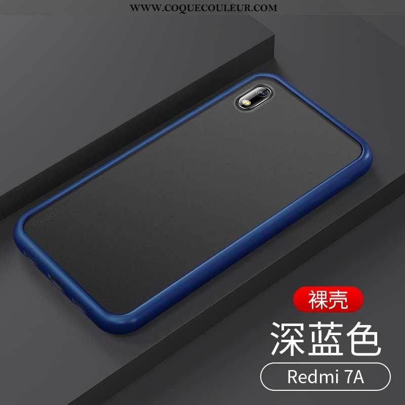 Étui Xiaomi Redmi 7a Transparent Tout Compris Bleu Marin, Coque Xiaomi Redmi 7a Délavé En Daim Luxe