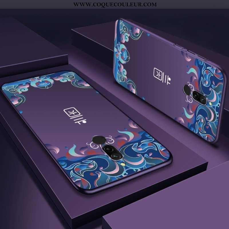 Étui Xiaomi Redmi 8 Délavé En Daim Rouge Violet, Coque Xiaomi Redmi 8 Personnalité Téléphone Portabl