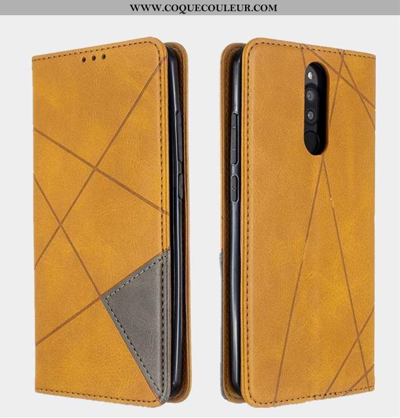 Étui Xiaomi Redmi 8 Cuir Coque Étui, Xiaomi Redmi 8 Protection Petit Jaune