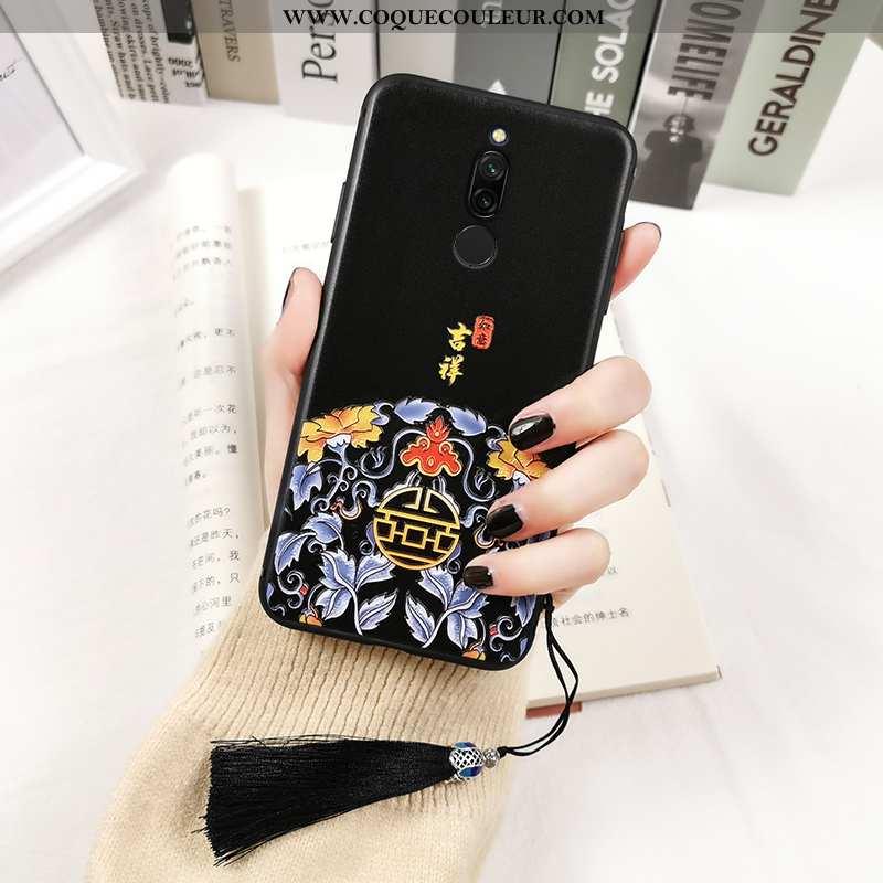 Coque Xiaomi Redmi 8 Créatif Fluide Doux Coque, Housse Xiaomi Redmi 8 Gaufrage Amoureux Noir