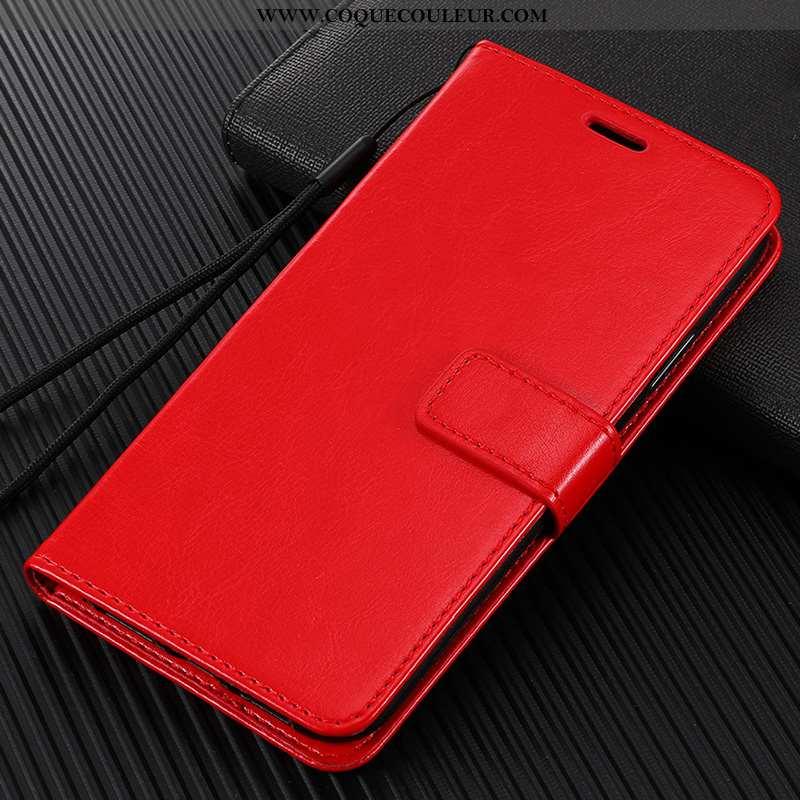 Coque Xiaomi Redmi 8 Protection Tout Compris Incassable, Housse Xiaomi Redmi 8 Cuir Rouge