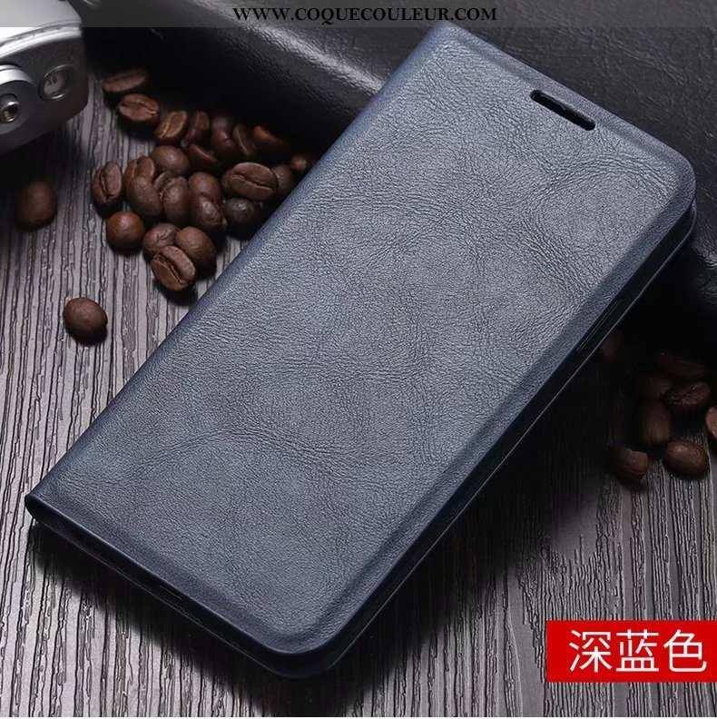 Housse Xiaomi Redmi 8 Protection Tout Compris Clamshell, Étui Xiaomi Redmi 8 Cuir Bleu Marin Bleu Fo
