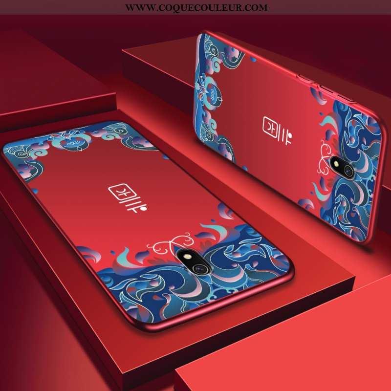 Étui Xiaomi Redmi 8a Délavé En Daim Téléphone Portable Rouge, Coque Xiaomi Redmi 8a Personnalité Rou