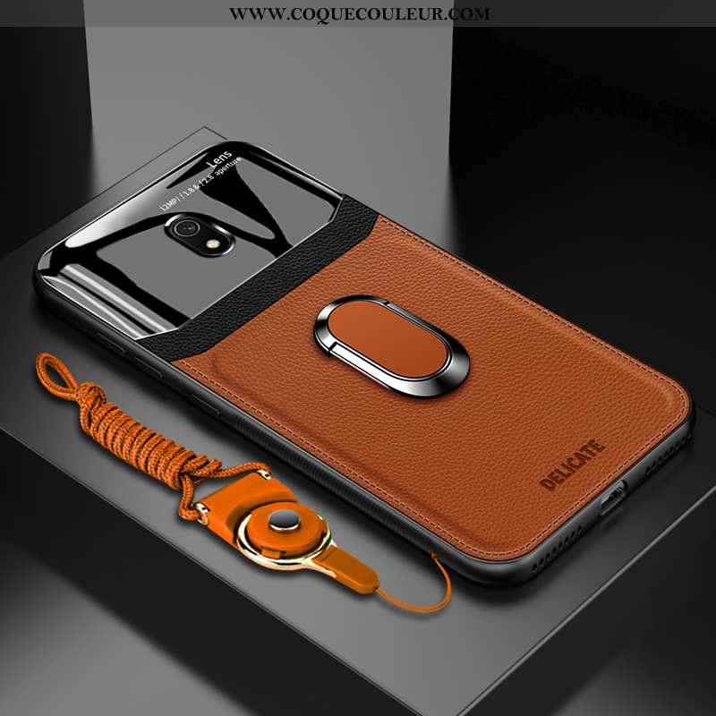Étui Xiaomi Redmi 8a Créatif Verre Net Rouge, Coque Xiaomi Redmi 8a Tendance Magnétisme Marron