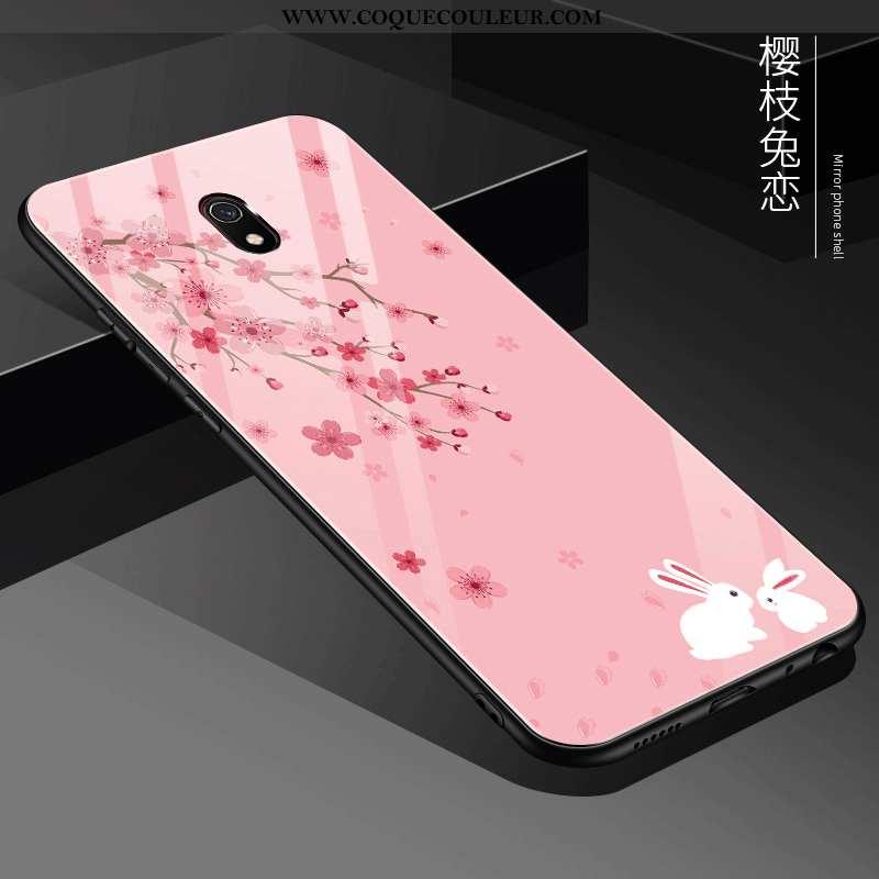 Étui Xiaomi Redmi 8a Créatif Miroir Tout Compris, Coque Xiaomi Redmi 8a Protection Verre Rose