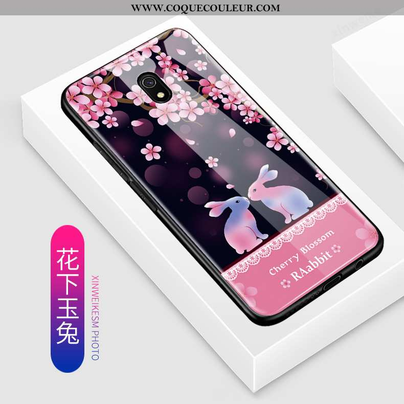 Housse Xiaomi Redmi 8a Verre Coque Incassable, Étui Xiaomi Redmi 8a Dessin Animé Petit Rose