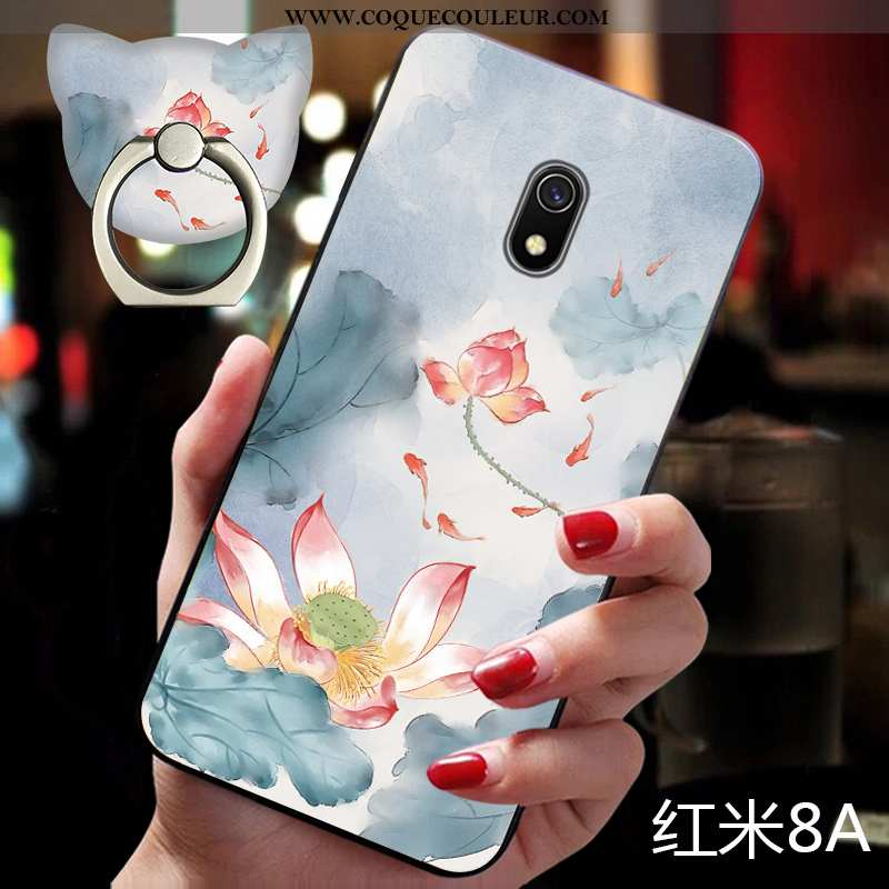 Housse Xiaomi Redmi 8a Gaufrage Fluide Doux Bleu, Étui Xiaomi Redmi 8a Cou Suspendu Coque Bleu