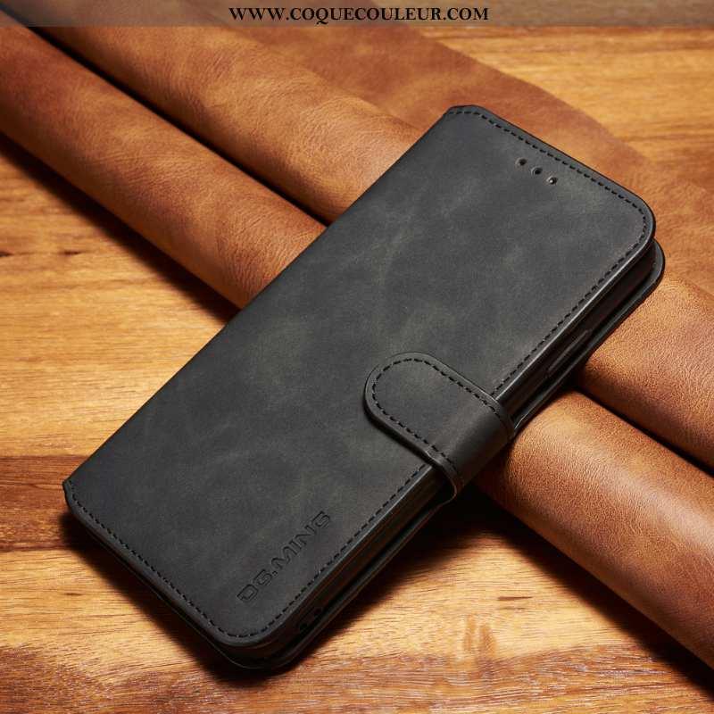Housse Xiaomi Redmi 8a Fluide Doux Rouge Étui, Étui Xiaomi Redmi 8a Vintage Cuir Noir