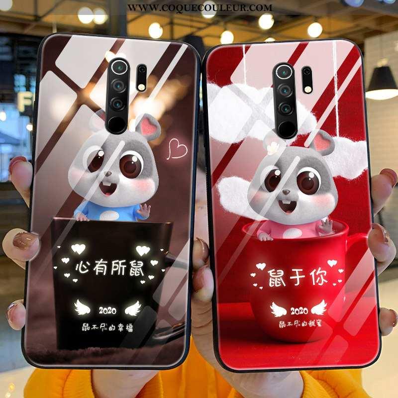 Housse Xiaomi Redmi 9 Dessin Animé Silicone Rouge, Étui Xiaomi Redmi 9 Charmant Nouveau Rouge