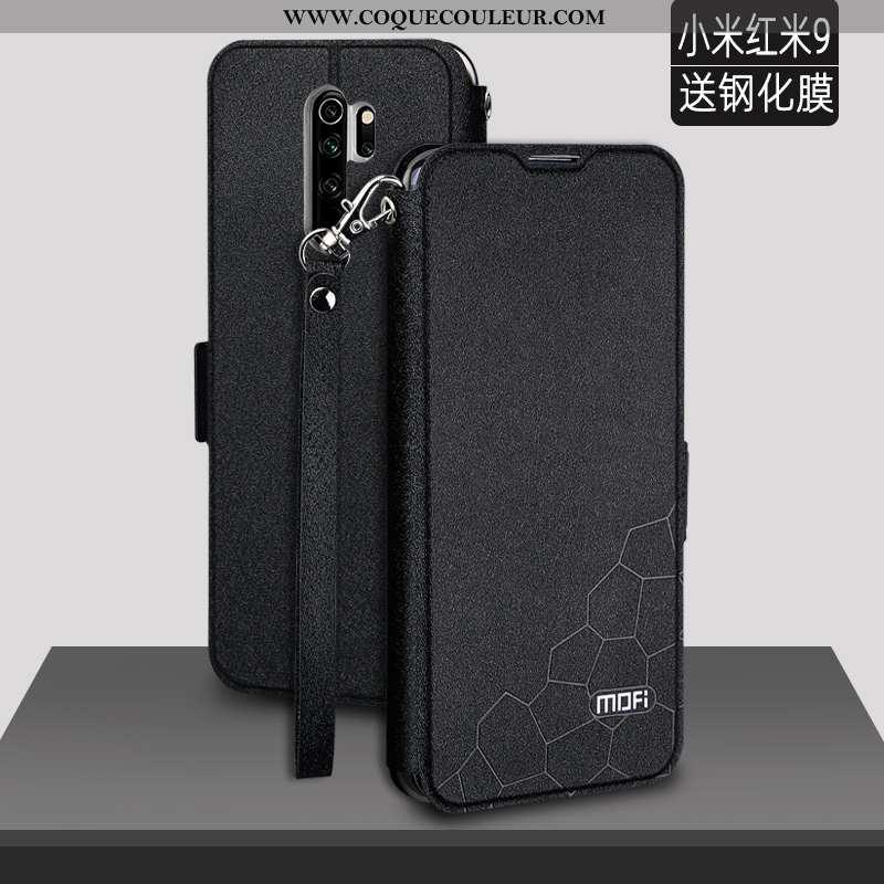 Coque Xiaomi Redmi 9 Fluide Doux Cuir Protection, Housse Xiaomi Redmi 9 Silicone Légère Noir