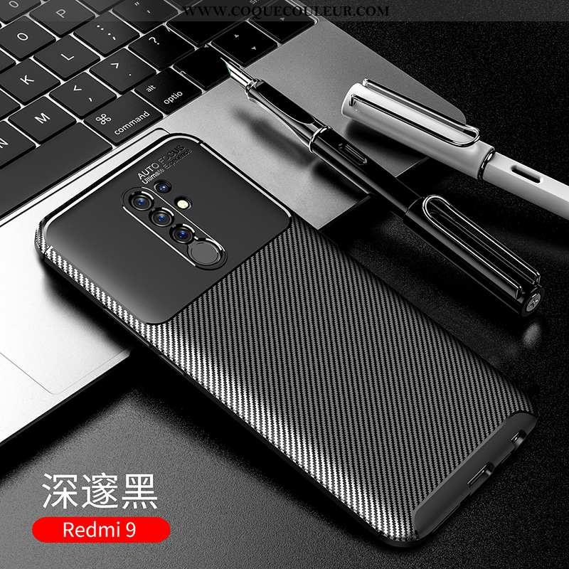 Housse Xiaomi Redmi 9 Silicone Fibre Tout Compris, Étui Xiaomi Redmi 9 Protection Délavé En Daim Noi