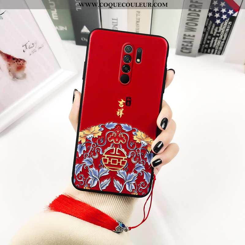 Housse Xiaomi Redmi 9 Délavé En Daim Gaufrage Étui, Étui Xiaomi Redmi 9 Personnalité Vintage Rouge