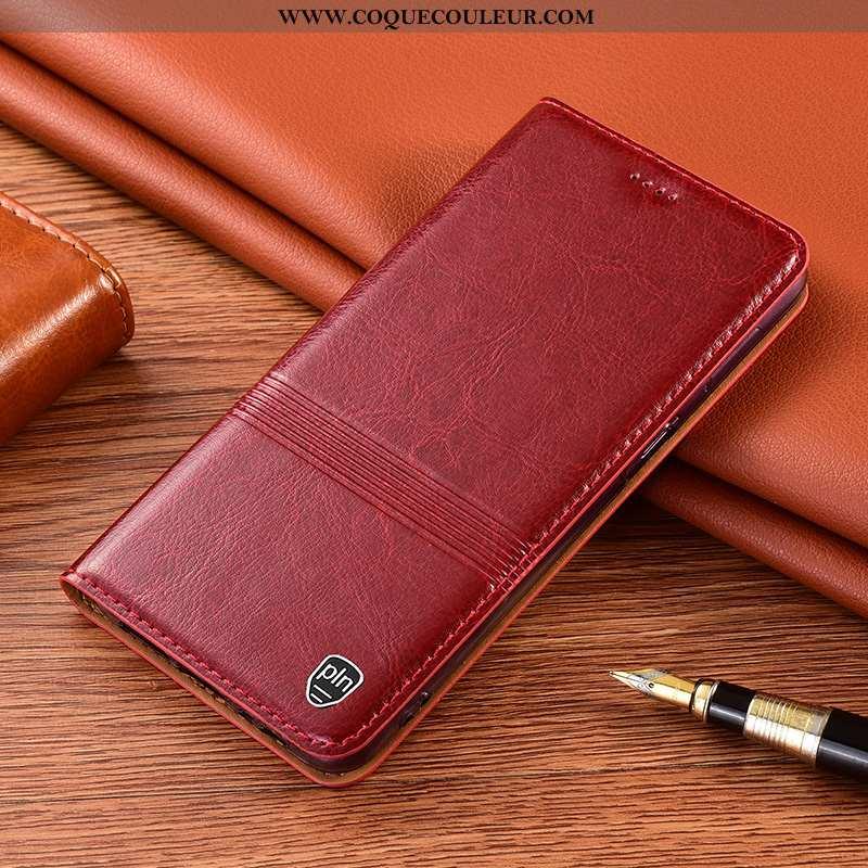 Coque Xiaomi Redmi 9a Protection Petit Incassable, Housse Xiaomi Redmi 9a Cuir Véritable Rouge
