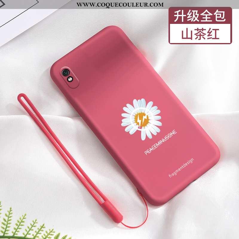 Coque Xiaomi Redmi 9a Délavé En Daim Rouge Tout Compris, Housse Xiaomi Redmi 9a Tendance Incassable