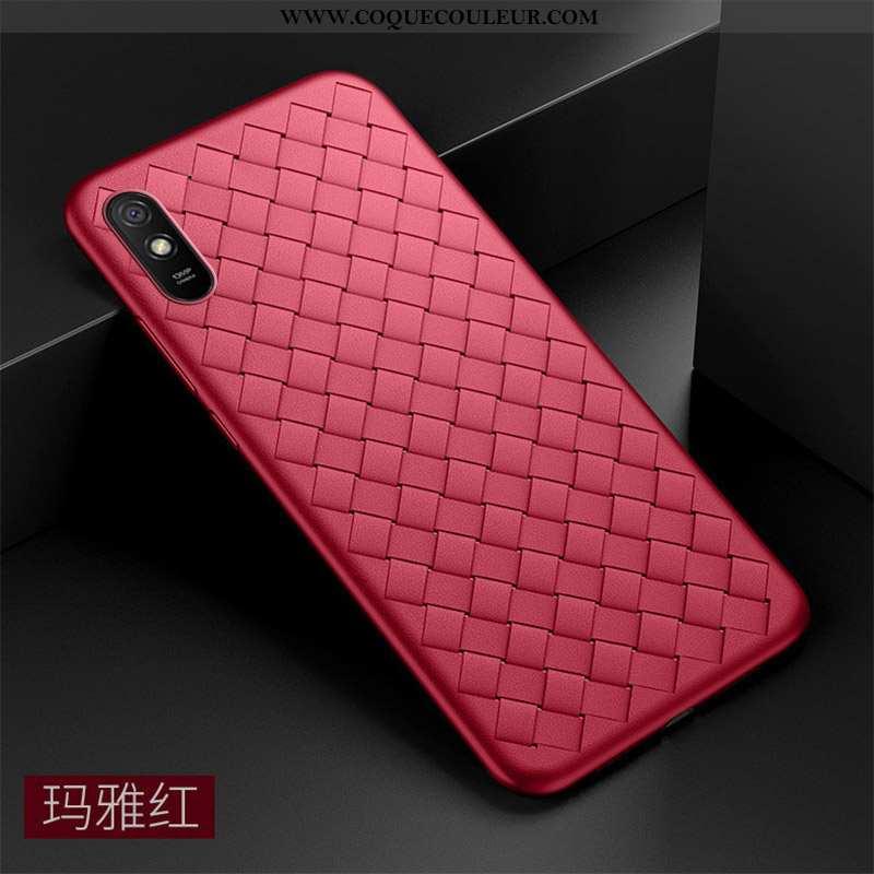 Coque Xiaomi Redmi 9a Silicone Tissage Téléphone Portable, Housse Xiaomi Redmi 9a Protection Net Rou