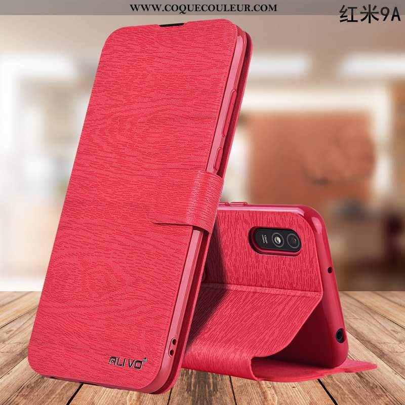 Coque Xiaomi Redmi 9a Protection Téléphone Portable Fluide Doux, Housse Xiaomi Redmi 9a Cuir Rouge