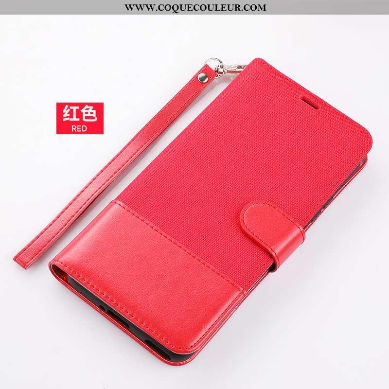 Housse Xiaomi Redmi 9a Portefeuille Protection Étui, Étui Xiaomi Redmi 9a Cuir Incassable Rouge