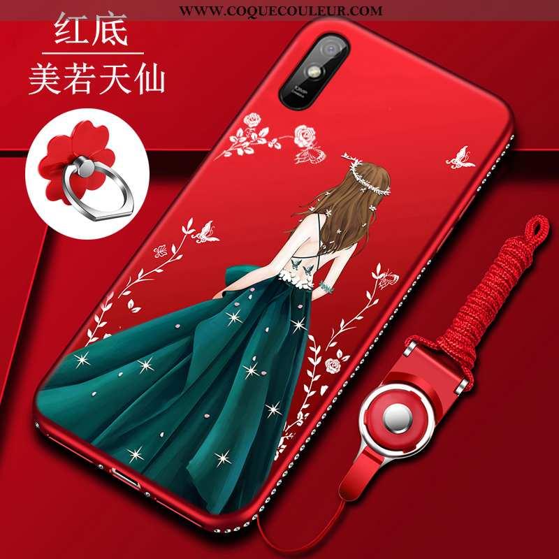 Housse Xiaomi Redmi 9a Fluide Doux Rouge Incassable, Étui Xiaomi Redmi 9a Silicone Coque