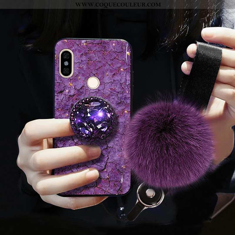 Étui Xiaomi Redmi Note 5 Modèle Fleurie Rouge Violet, Coque Xiaomi Redmi Note 5 Fluide Doux Violet