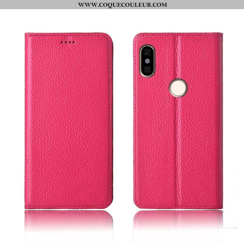 Étui Xiaomi Redmi Note 6 Pro Cuir Véritable Rouge Clamshell, Coque Xiaomi Redmi Note 6 Pro Cuir Nouv