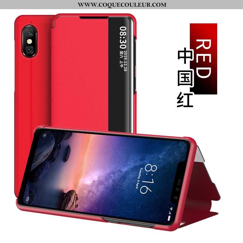 Étui Xiaomi Redmi Note 6 Pro Cuir Rouge Coque, Coque Xiaomi Redmi Note 6 Pro Windows