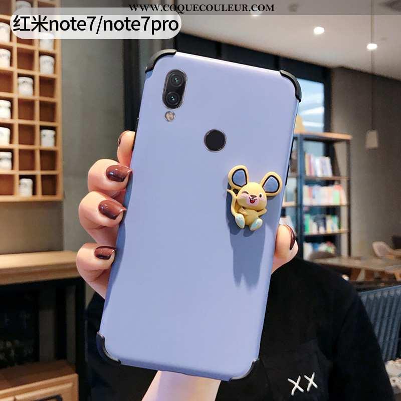 Étui Xiaomi Redmi Note 7 Silicone Bleu Simple, Coque Xiaomi Redmi Note 7 Protection Rouge