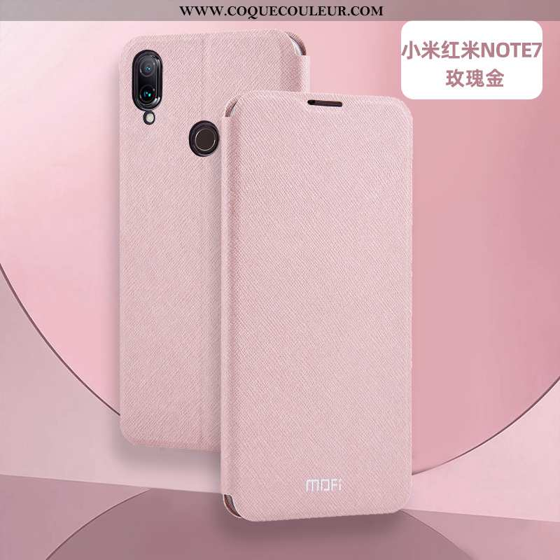 Étui Xiaomi Redmi Note 7 Cuir Téléphone Portable Clamshell, Coque Xiaomi Redmi Note 7 Silicone Rose