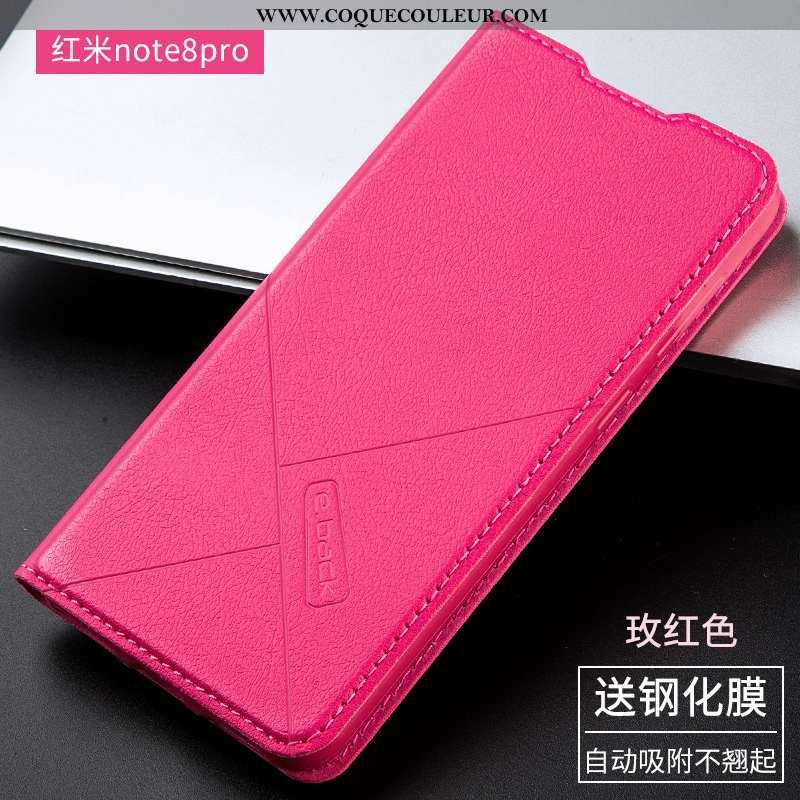 Housse Xiaomi Redmi Note 8 Pro Cuir Simple, Étui Xiaomi Redmi Note 8 Pro Fluide Doux Protection Rose