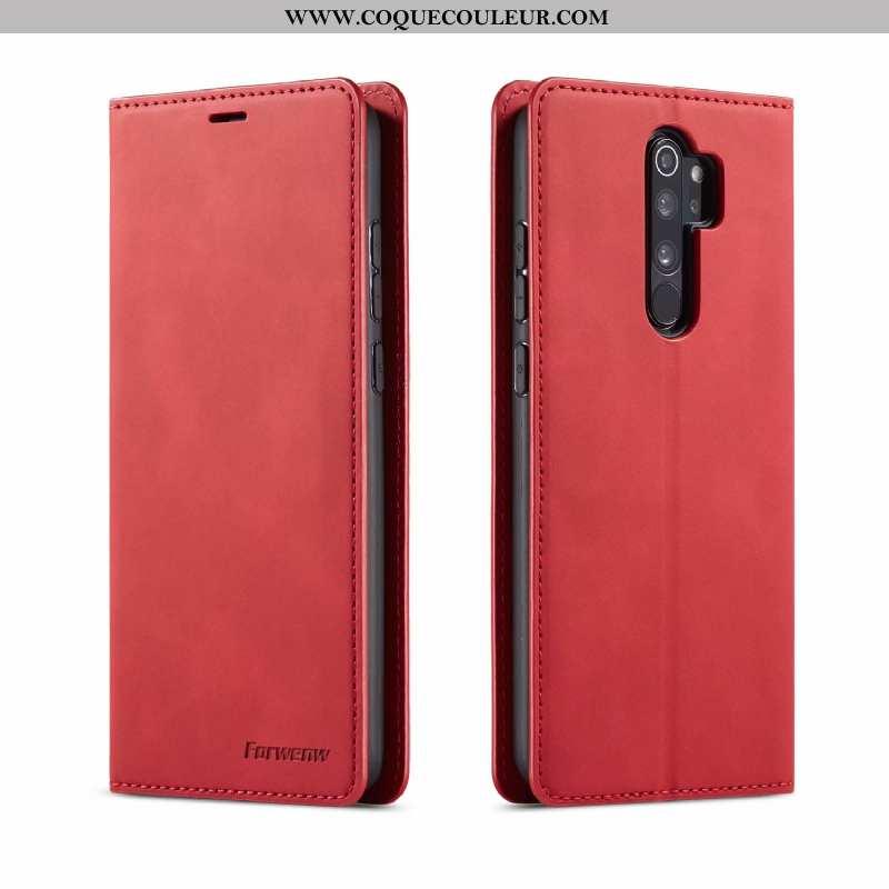 Housse Xiaomi Redmi Note 8 Pro Portefeuille Étui Rouge, Xiaomi Redmi Note 8 Pro Cuir Téléphone Porta