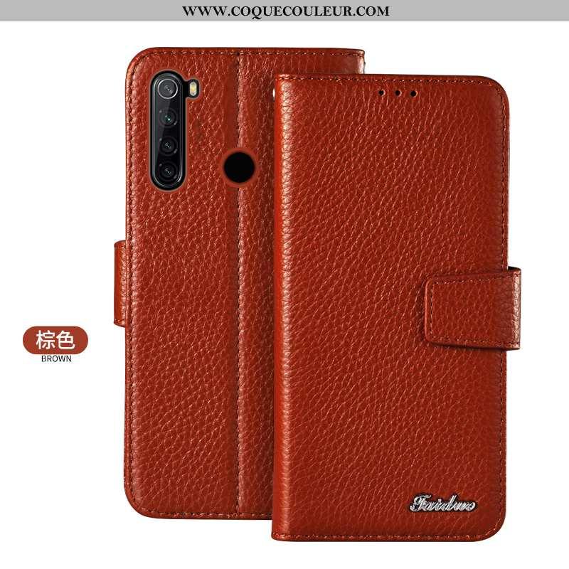 Housse Xiaomi Redmi Note 8t Cuir Véritable Téléphone Portable Carte, Étui Xiaomi Redmi Note 8t Prote