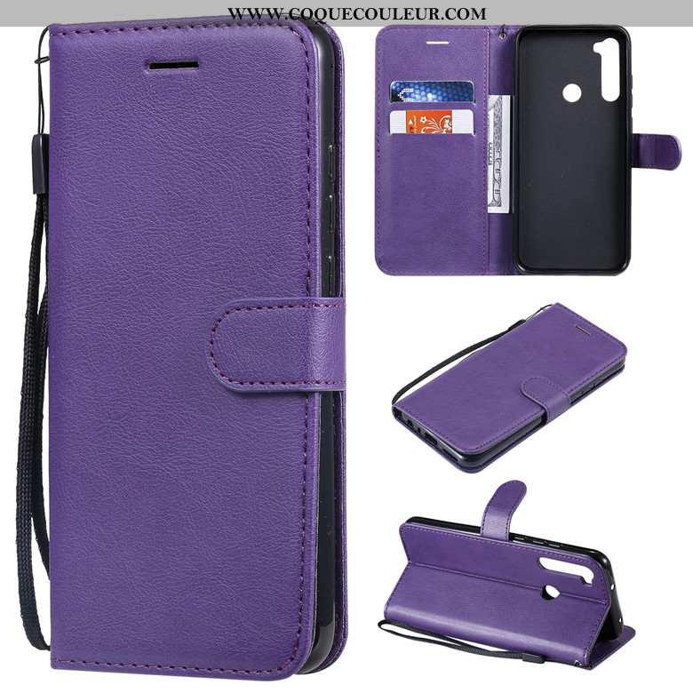 Coque Xiaomi Redmi Note 8t Cuir Téléphone Portable Couleur Unie, Housse Xiaomi Redmi Note 8t Protect