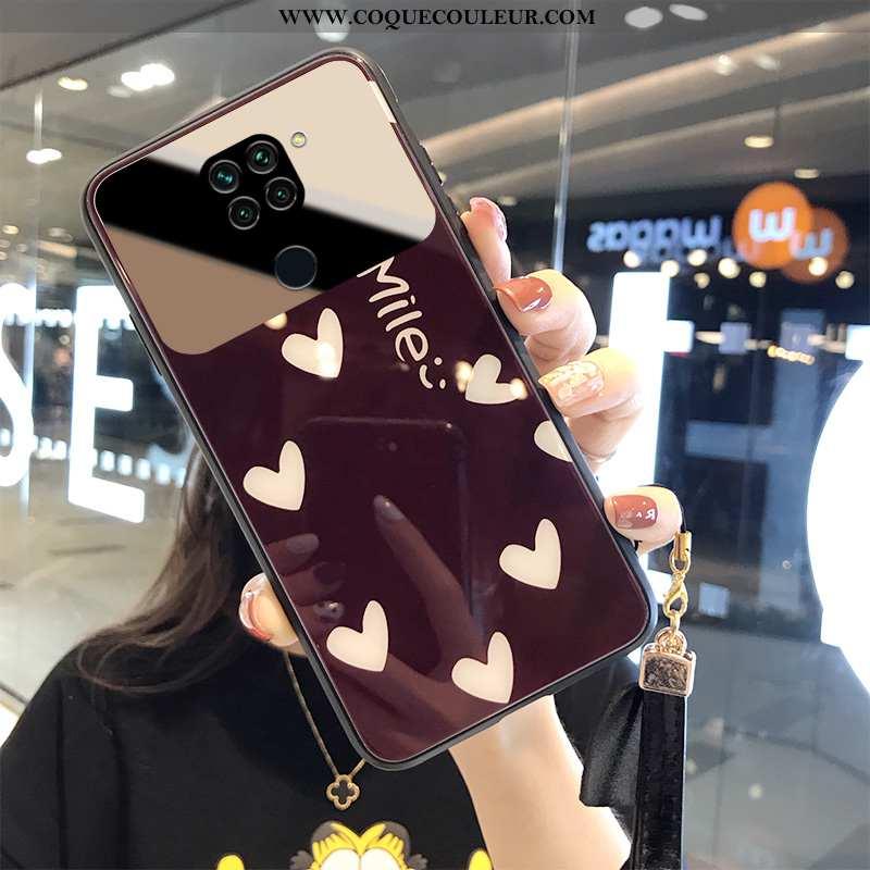 Housse Xiaomi Redmi Note 9 Verre Coque Créatif, Étui Xiaomi Redmi Note 9 Ornements Suspendus Amour R