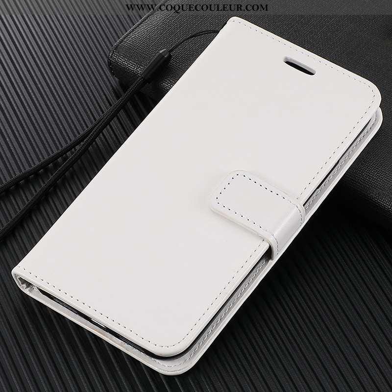 Coque Xiaomi Redmi Note 9 Protection Incassable Blanc, Housse Xiaomi Redmi Note 9 Cuir Fluide Doux B