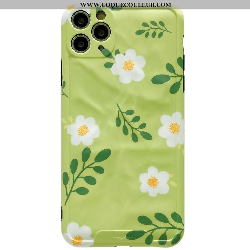 Coque iPhone 11 Pro Max Créatif Protection Vert, Housse iPhone 11 Pro Max Fluide Doux Fleurs Verte